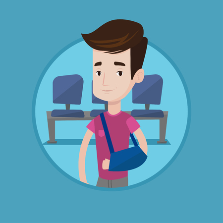 An injured caucasian man wearing an arm brace. Young man with his broken right arm in hospital. Man with broken arm in a cast. Vector flat design illustration in the circle isolated on background. Illustration