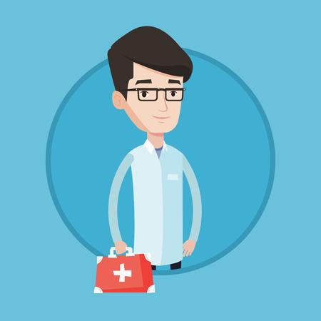 Jeune médecin mâle caucasien en robe médicale tenant premier aide de récupération médecin positif dans l & # 39 ; uniforme permanent avec le premier aide de premiers soins de la seringue . vector illustration design plat sur fond Banque d'images - 84275385