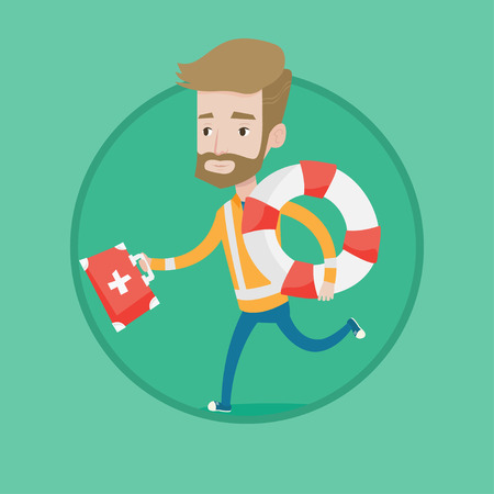 Hipster caucasian paramedic running with first aid box. Young paramedic running to patients. Paramedic running with lifebuoy. Vector flat design illustration in the circle isolated on background. Ilustracja