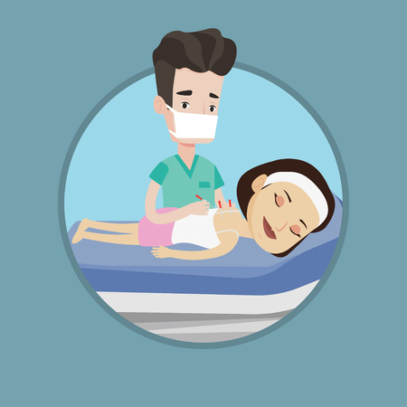 Caucasian woman getting acupuncture treatment in salon. Acupuncturist doctor performing acupuncture therapy on back of customer. Vector flat design illustration in the circle isolated on background. Illustration