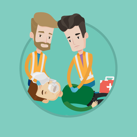 Emergency doctors during process of resuscitation of man. Caucasian emergency doctors doing cardiopulmonary resuscitation of a man. Vector flat design illustration in the circle isolated on background Illustration