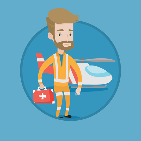 Doctor of air ambulance in front of rescue helicopter. Doctor of air ambulance with first aid box. Hipster doctor of air ambulance. Vector flat design illustration in the circle isolated on background Illustration