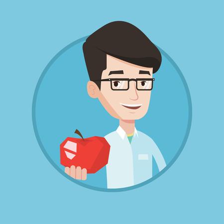 Giovane nutrizionista caucasico che prescrive dieta e cibo sano. Nutrizionista in possesso di una mela. Nutrizionista che offre una mela. Vector design piatto illustrazione nel cerchio isolato su sfondo.