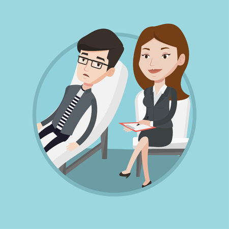 Caucasian patient talking about problems with psychotherapist or psychologist. Psychologist having session with depressed patient. Vector flat design illustration in the circle isolated on background. Çizim
