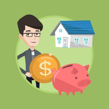 Caucasian house owner putting dollar coin in piggy bank on the background of house. Cheerful man investing money in real estate. Vector flat design illustration in the circle isolated on background. Illustration