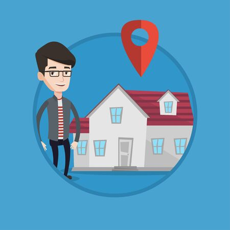 Young caucasian real estate agent standing on a background of map pointer above the house. Happy real estate agent offering house. Vector flat design illustration in the circle isolated on background. Illusztráció