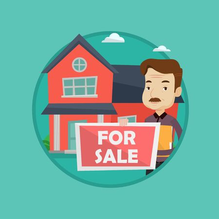 An adult broker offering the house. Male broker with placard for sale and documents in hands standing on the background of house. Vector flat design illustration in the circle isolated on background. Illustration