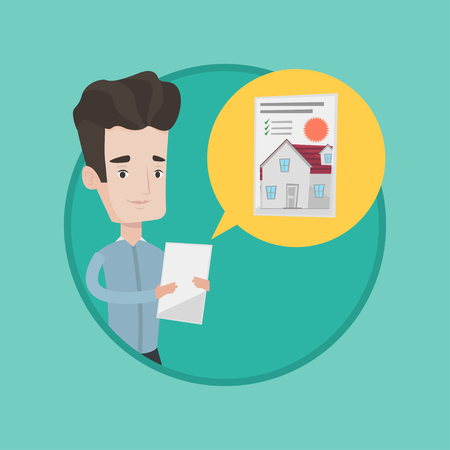 Young caucasian man looking at photo of a house on a digital tablet. Man seeking for appropriate house on a tablet computer. Vector flat design illustration in the circle isolated on background. Banco de Imagens - 84319897