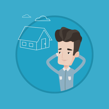 Caucasian man dreaming about future life in a new house. Man planning future purchase of house. Man thinking about buying a house. Vector flat design illustration in the circle isolated on background.