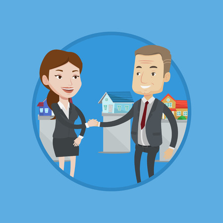 Real estate agent shaking hand to buyer after successful deal in office. Conclusion of real estate deal between realtor and buyer. Vector flat design illustration in the circle isolated on background Illustration