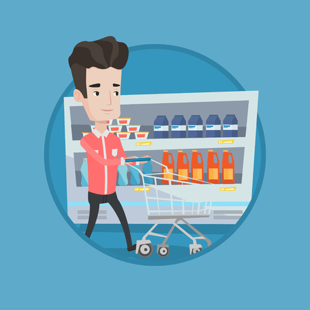 supermarket: Man pushing an empty supermarket cart. Customer shopping at supermarket with cart. Caucasian man walking with cart in supermarket. Vector flat design illustration in the circle isolated on background.