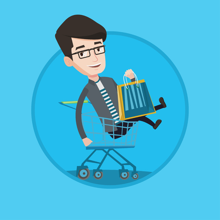 humorous: Customer having fun while riding by shopping trolley. Cheerful caucasian man with shopping bags sitting in shopping trolley. Vector flat design illustration in the circle isolated on background.