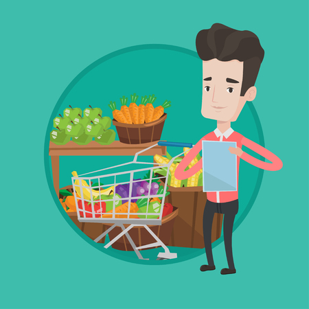 Caucasian man checking shopping list. Young man holding shopping list near trolley with products. Man writing in shopping list. Vector flat design illustration in the circle isolated on background.