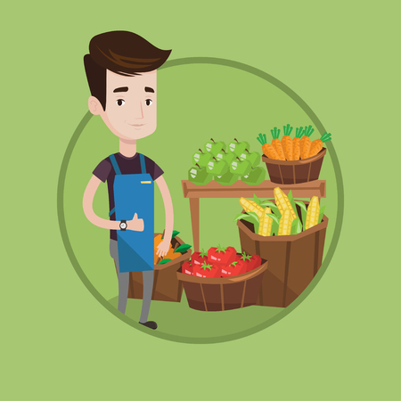 Young caucasian greengrocer giving thumb up. Greengrocer standing on the background of shelves with fresh vegetables and fruits. Vector flat design illustration in the circle isolated on background.