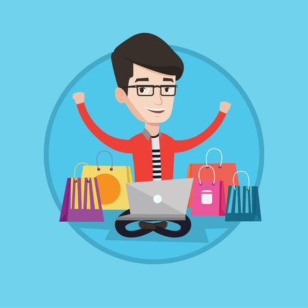 Young caucasian man using laptop for shopping online. Happy man sitting with shopping bags around him. Man doing online shopping. Vector flat design illustration in the circle isolated on background. Illustration