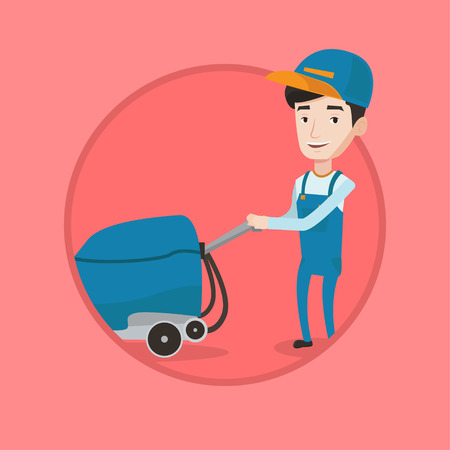 Caucasian cleaner with cleaning equipment. Worker cleaning store floor with machine. Worker of cleaning services in supermarket. Vector flat design illustration in the circle isolated on background.