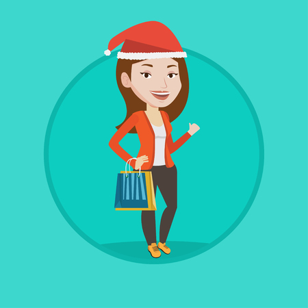 christmas gifts: Woman in christmas hat holding shopping bags. Woman carrying shopping bags with christmas gifts. Girl shopping for christmas gifts. Vector flat design illustration in the circle isolated on background