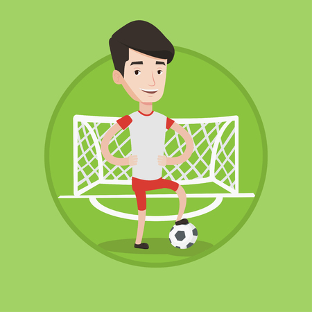 Young sportsman standing with football ball on the backgrounf of gate. Football player standing with a football ball on the field. Vector flat design illustration in the circle isolated on background. Illustration