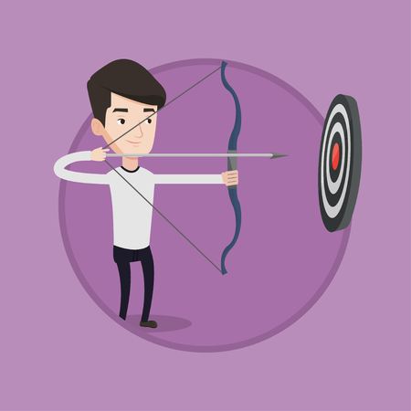 Bowman shooting with bows during archery competition. Bowman aiming with bow and arrow at the target. Bowman practicing with bow. Vector flat design illustration in the circle isolated on background.