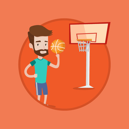 Hipster man with beard spinning basketball ball on his finger. Young caucasian basketball player standing on the basketball court. Vector flat design illustration in the circle isolated on background.