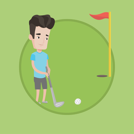 Young golfer hitting the ball in the hole with red flag. Professional golfer on golf course. Young caucasian golfer playing golf. Vector flat design illustration in the circle isolated on background.