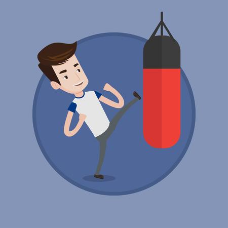 Boxer hitting punching bag during training.