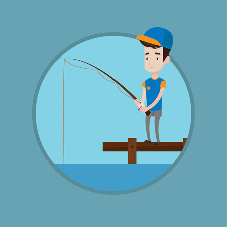 Fisherman fishing on the lake. Caucasian fisherman relaxing during fishing on jetty. Young fisherman standing with fishing-rod. Vector flat design illustration in the circle isolated on background.