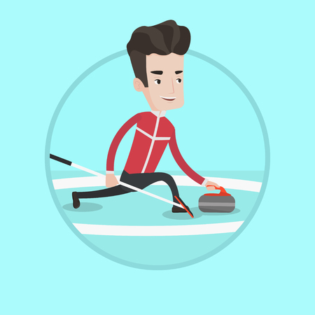 Caucasian curling player playing on a rink. Caucasian curling player delivering a stone. Curling player sliding over the ice. Vector flat design illustration in the circle isolated on background