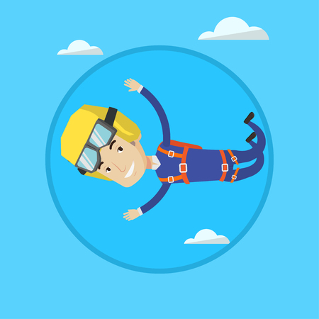 Professional male parachutist falling through the air. Illustration