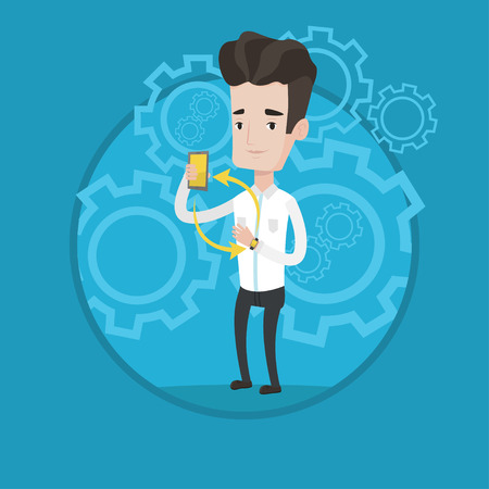 Young caucasian man showing his smartphone and smart watch. Concept of synchronization between smartwatch and smartphone. Vector flat design illustration in the circle isolated on background.