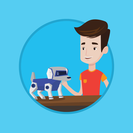 Caucasian man playing with a robotic dog. Smiling man standing near the table with a robotic dog on it. Man stroking a robotic dog. Vector flat design illustration in the circle isolated on background