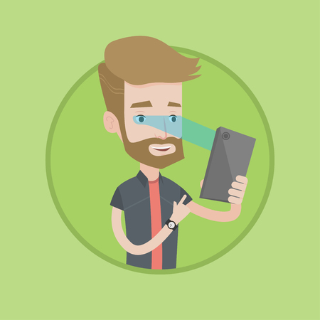 Hipster caucasian man using smart mobile phone with retina scanner. Young happy man using iris scanner to unlock his mobile phone. Vector flat design illustration in the circle isolated on background. Illustration