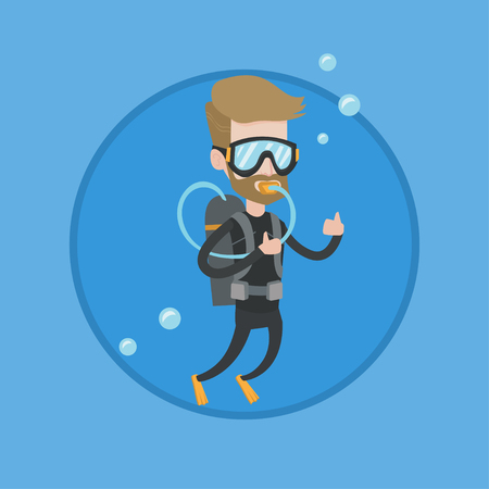 Man diving with scuba and showing ok sign. Caucasian man in diving suit snorkeling and giving thumb up. Man enjoying the dive. Vector flat design illustration in the circle isolated on background.