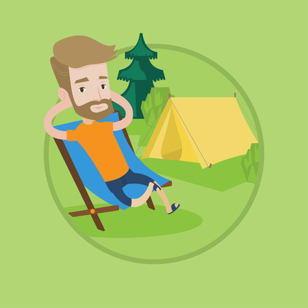 collapsible: Happy hipster man with beard sitting in folding chair in the camp. Young caucasian man relaxing and enjoying his camping holiday. Vector flat design illustration in the circle isolated on background.