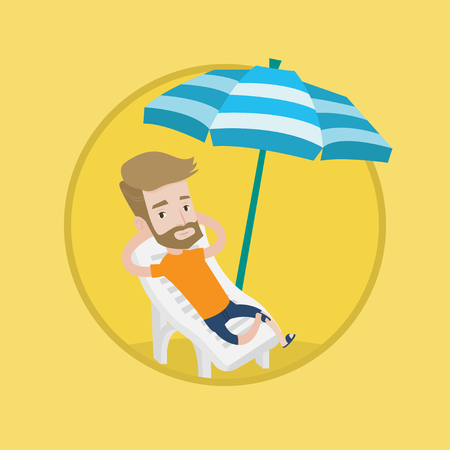 Hipster man sitting in a chaise longue at the beach. Young happy man resting on holiday while sitting under umbrella at the beach. Vector flat design illustration in the circle isolated on background. Illustration