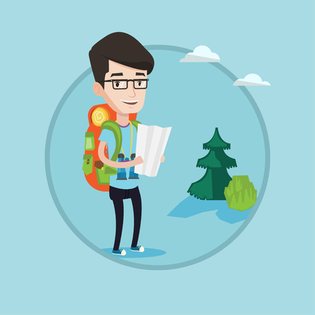Traveler with backpack and binoculars looking at map. Traveler exploring the map. Traveler searching right direction on a map. Vector flat design illustration in the circle isolated on background. Illustration
