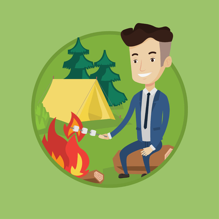 Happy businessman in suit sitting on a log near campfire and roasting marshmallow over campfire on the background of camping site. Vector flat design illustration in the circle isolated on background.