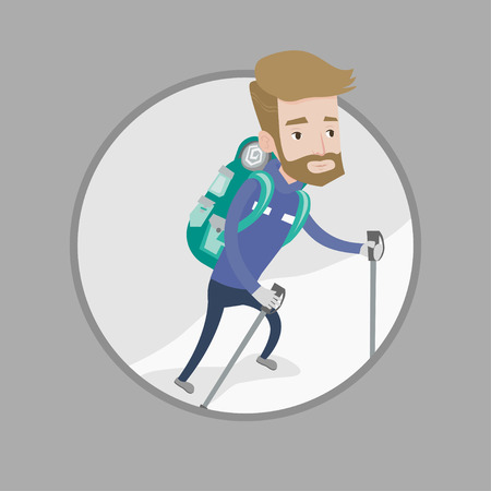 Mountaneer climbing a snowy ridge. Mountaineer climbing a mountain. Mountaineer with backpack walking up along a snowy ridge. Vector flat design illustration in the circle isolated on background. Ilustração