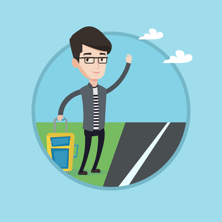 rural road: Young caucasian man with suitcase hitchhiking on roadside. Hitchhiking man trying to stop a car on a highway by waving hand. Vector flat design illustration in the circle isolated on background.