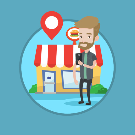 map pin: Man holding smartphone with mobile app for looking for restaurant. Young man using smartphone on the background of restaurant. Vector flat design illustration in the circle isolated on background. Illustration