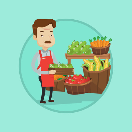 Mature male supermarket worker holding box with apples. Supermarket worker standing in front of section with vegetables and fruits. Vector flat design illustration in the circle isolated on background