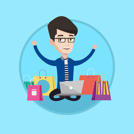 Young caucasian man with hands up using laptop for shopping online. Man doing order in online store. Man doing online shopping. Vector flat design illustration in the circle isolated on background. Illustration