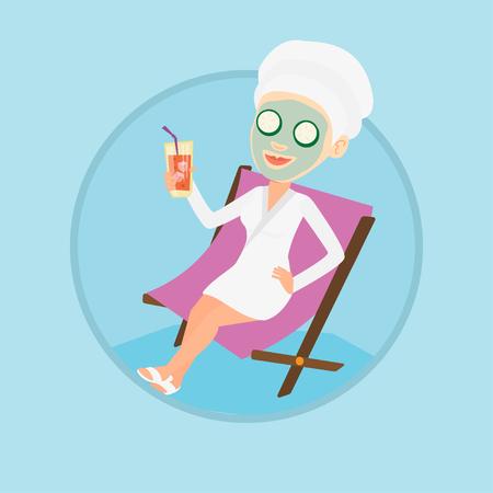 美容室の長椅子で横になっているフェイス マスクと幸せな女は。女性サロンでリラックス。美容トリートメントを持つ少女。ベクター背景に分離さ
