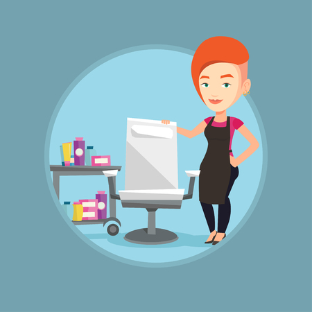 Young caucasian barber standing near armchair and table with cosmetics in barber shop. Barber standing at workplace in barber shop. Vector flat design illustration in the circle isolated on background