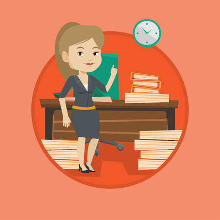 Business woman standing in office and pointing at time on clock. Business woman working against time. Concept of time management. Vector flat design illustration in the circle isolated on background. Illustration