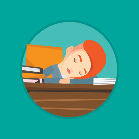 sleepy woman: Fatigued student sleeping at the desk with books. Tired student sleeping after learning. Girl sleeping among the books at the table Vector flat design illustration in the circle isolated on background