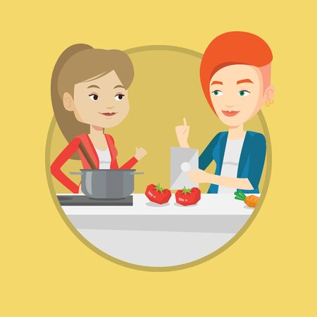 pareja comiendo: Women following recipe for healthy vegetable meal on digital tablet. Women cooking healthy meal. Women having fun cooking together. Vector flat design illustration in the circle isolated on background