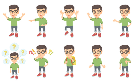 Little caucasian boy set. Boy in glasses standing with hands raised in the air, making grimace, waving hand, showing thumb down. Set of vector sketch cartoon illustrations isolated on white background