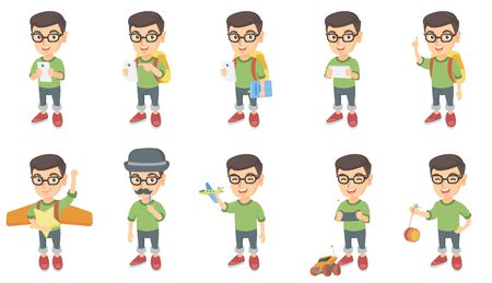 Little caucasian boy set. Boy using a smartphone, pointing finger up, playing with toy airplane, radio-controlled car, yo-yo. Set of vector sketch cartoon illustrations isolated on white background.