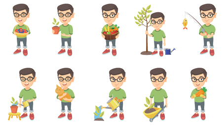 Little caucasian boy set. Boy holding the basket with strawberry, blueberry, fruit, vegetables, watering plant, planting a tree. Set of vector sketch cartoon illustrations isolated on white background